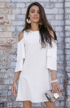 *Fobya F543 elegancka sukienka ecru