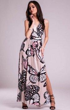 Sukienka długa w motyle beżowa 0236