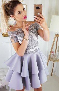 Bicotone 2148-31 sukienka rozkloszowana szara