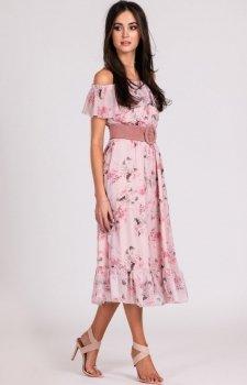 Sukienka z hiszpańskim dekoltem w kwiaty 0247/D07