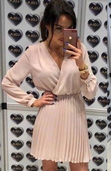 Lola Fashion plisowana sukienka beżowa
