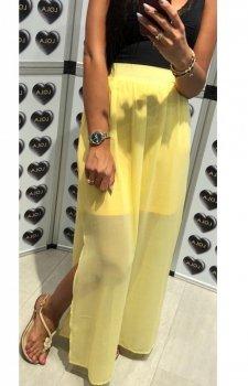 Długa spódnica z tiulem żółta