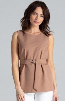 Elegancka brązowa bluzka bez rękawów L041