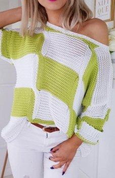 Carmel sweterek w paski biało-zielony