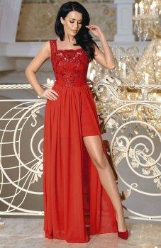 Bicotone2171-02 sukienka maxi czerwona
