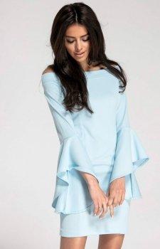 Ołówkowa sukienka błękitna z hiszpańskim rękawem NA1009