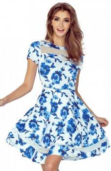 Morimia 003-3 sukienka biała w niebieskie kwiaty
