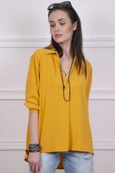 Oversizowa koszulka damska musztardowa 0051