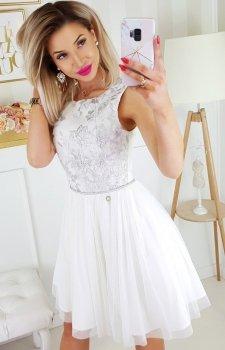 Bicotone sukienka z koronką biało-szara 2179-31