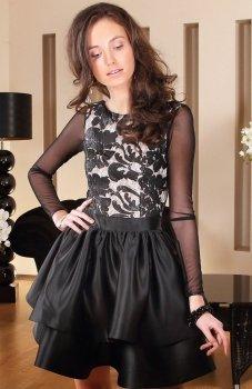 Roco 0128 sukienka rozkloszowana czarna