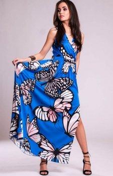 Sukienka długa w motyle 0236