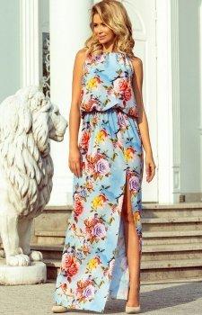 Długa sukienka w kwiaty Numoco 191-5