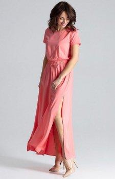 Długa koralowa sukienka na co dzień L042