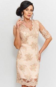 Roco 0153 sukienka koronkowa beżowa
