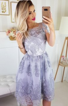 Bicotone 2135-03 sukienka koronkowa szara