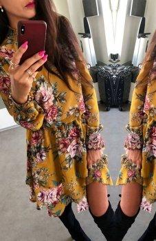 Lola sukienka w kwiaty musztardowa