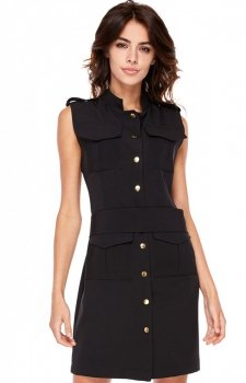 Ołówkowa sukienka bez rękawów czarna