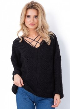 Fobya sweter oversize czarny F641