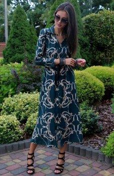 Roco 0220 sukienka długa zielona