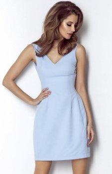 *Koktajlowa sukienka z dekoltem April błękitna