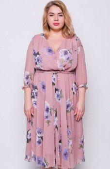 Cover TR2222 sukienka w kwiaty brązowa