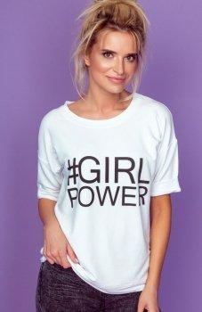 Knits K144 bluzka z napisem Girl Power biała