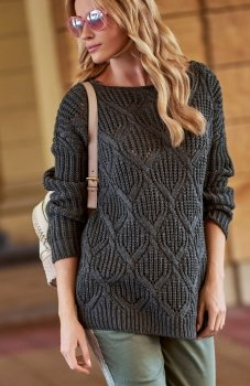 Makadamia S61 sweter grafitowy