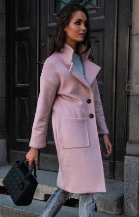 Płaszcz alpaka różowy P011