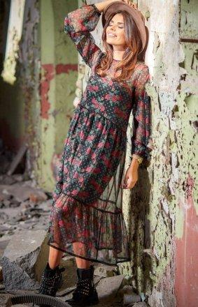 Szyfonowa sukienka midi Awama A316/W1