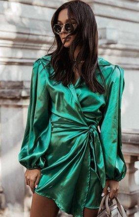 Elegancka satynowa sukienka zielona