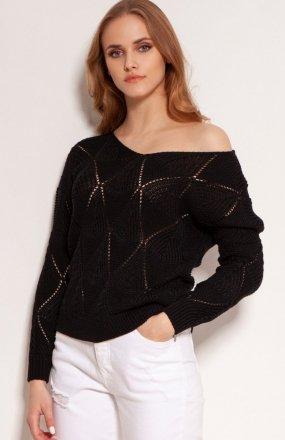 Ażurowy sweter czarny SWE144