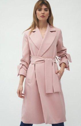 Elegancki różowy płaszcz damski PL13R