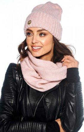 Zimowy komplet czapka i szalik pudrowy róż LC119