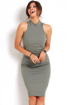 Ołówkowa sukienka khaki Rosa