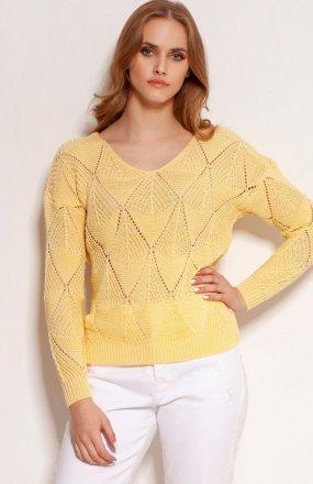 Ażurowy sweter żółty SWE144
