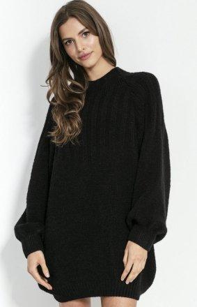 Sweterkowa sukienka czarna F854
