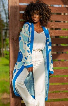 Bawełniany długi kardigan blue F1239