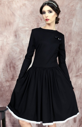 Kasia Miciak design rozkloszowana sukienka czarna