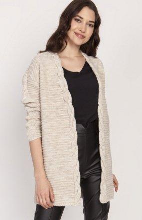 Ciepły sweter kardigan beż SWE127