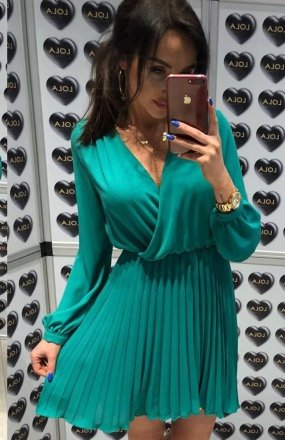 *Lola Fashion plisowana sukienka zielona