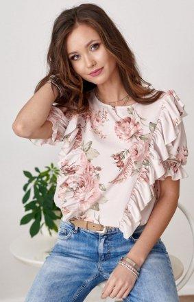 Stylowa bluzka w kolorowe kwiaty 0074