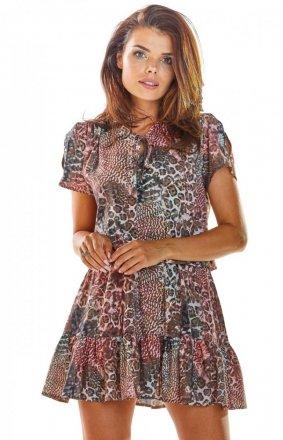 Wzorzysta sukienka w panterkę A283