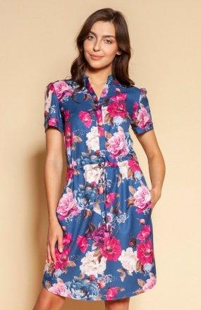 Sukienka z troczkiem i krótkim rękawem kwiaty SUK196