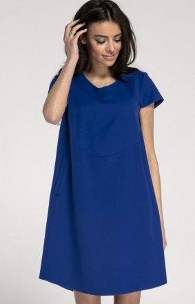 Oversizowa casualowa sukienka kobaltowa NA1003