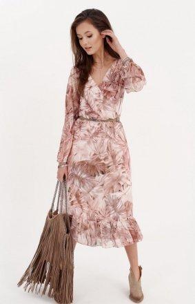 Sukienka midi z falbaną w kwiatuszki 0241/R03