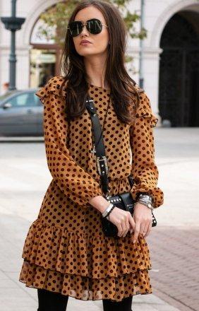 Szyfonowa sukienka w groszki musztardowa 259/D91