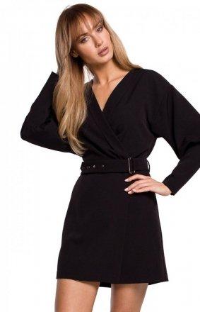 Stylowa sukienka z paskiem czarna M501