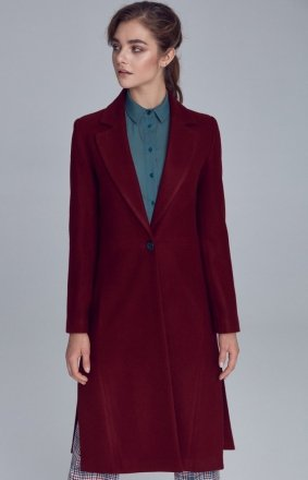 Jednorzędowy bordowy płaszcz Nife PL07BO
