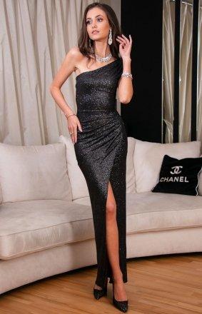 *Elegancka czarna sukienka z brokatem 274