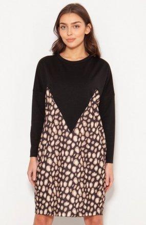 Oversizowa sukienka w typie bluzy panterka SUK191